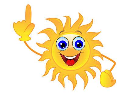 upwards: merry sun  an index finger heaved up upwards ,vector  illustration