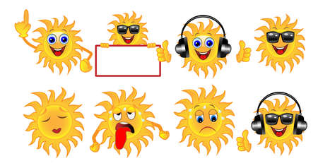 set a sun of different emotion, vector illustration Vector