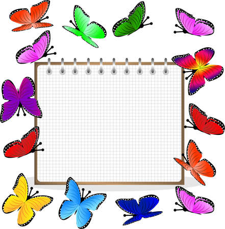 weekly: weekly and bright butterflies,  vector  illustration