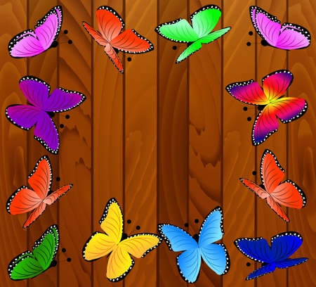 spot the difference: background with wooden texture and butterflies,vector illustration Illustration