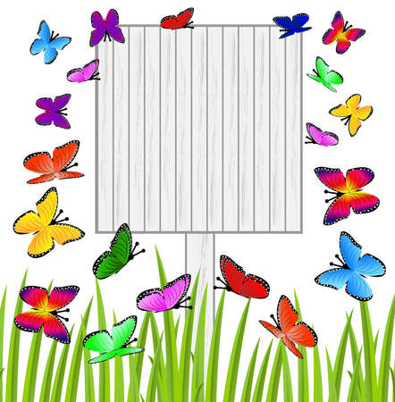 background with a wooden table and butterflies,vector illustration Vector