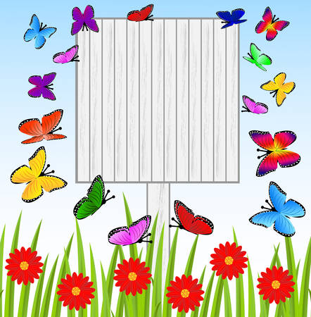 background  with a wooden table, butterflies and red flowers,  vector  illustration Vector