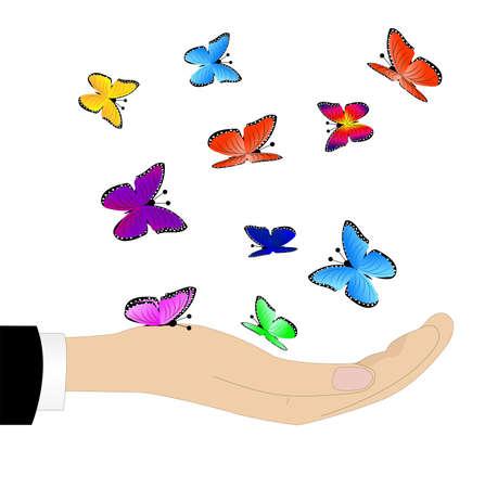 varicoloured: mariposas multicolores en una mano Vectores