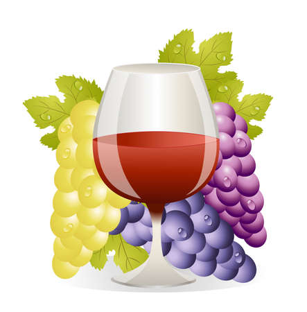 deliciously: glass of red wine and cluster of vine