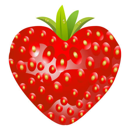 deliciously: ripe berry of strawberry on a white background Illustration