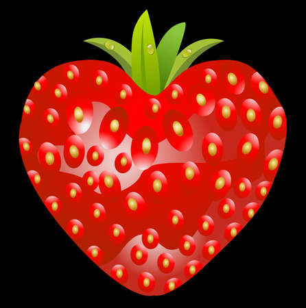 deliciously: ripe berry of strawberry on a black background