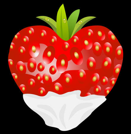 deliciously: ripe berry of strawberry with creams on a black background
