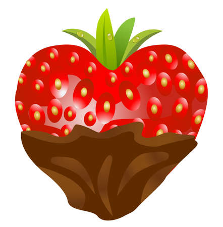 sweetness: ripe berry of strawberry with a chocolate on a white background