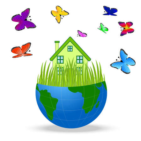 house with butterflies in a planet earth on white background Illustration