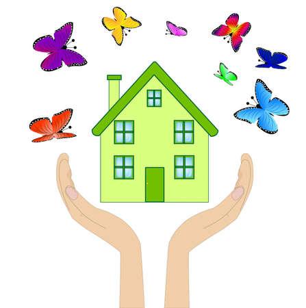 varicoloured: casa con mariposas multicolores en las manos sobre un fondo blanco Vectores