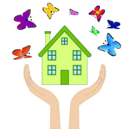 flue: house with varicoloured butterflies in hands on a white background