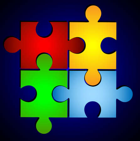varicoloured puzzle on a blue background Vector