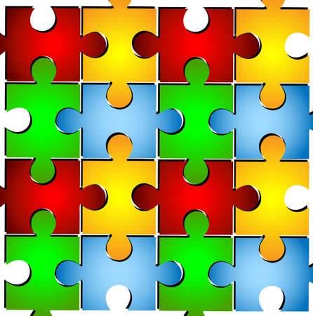varicoloured puzzle on a white background Vector