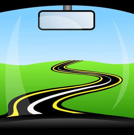 flowed: road, going away to distance through glass car