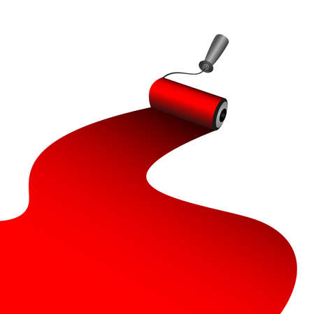 painter roller dyes a red paint