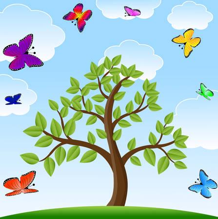 varicoloured: tree and bright varicoloured butterflies Illustration