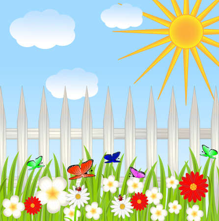 floral glade, blue sky and sun  Vector