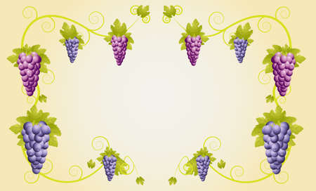 deliciously:  design with vine racemes ,illustration