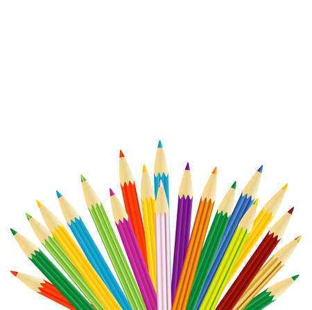 varicolored: varicolored pencils on a white