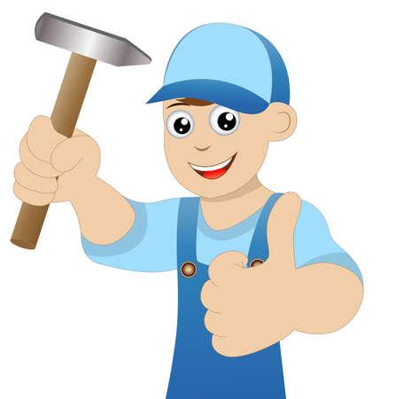 """schlosser: Mensch einen Schlosser mit einem Hammer in der Hand zeigt Geste """"perfekt"""""""