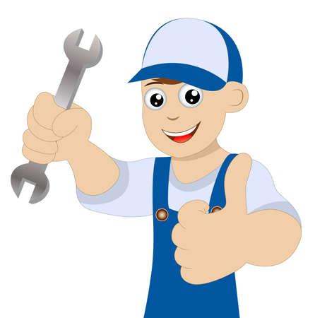 """schlosser: Mensch einen Schlosser mit einem Schraubenschl�ssel in der Hand zeigt Geste """"perfekt"""""""