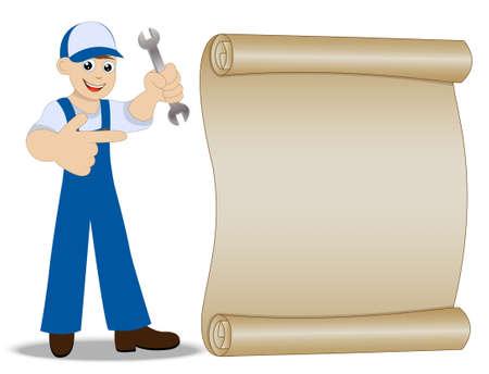schlosser: Mann ein Schlosser mit einem Schraubenschl�ssel in der Hand zeigt auf altem Papier