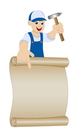schlosser: Mensch einen Schlosser mit Hammer in der Hand zeigt auf altem Papier