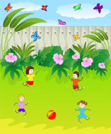 children play the green lawn, vector illustration Vector