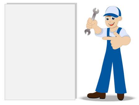 schlosser: Mann ein Schlosser mit einem Schraubenschl�ssel in der Hand zeigt auf saubere Banner, Vektor-Illustration
