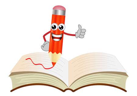 lápiz feliz en un libro abierto, ilustración vectorial