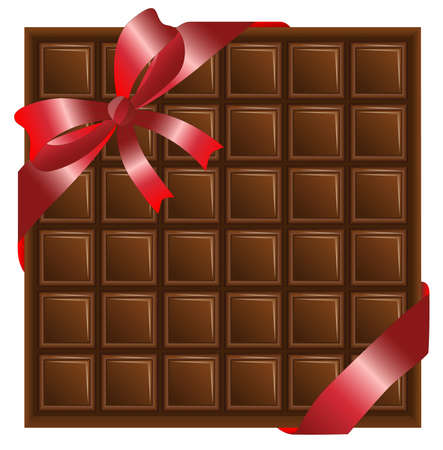 deliciously: chocolate with a red ribbon Illustration