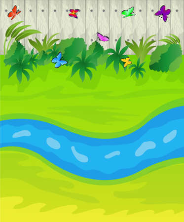 brook: brook on a green lawn and wooden fence