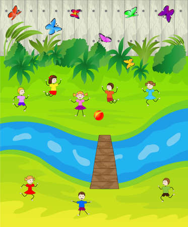 brook: children play the green lawn near a brook