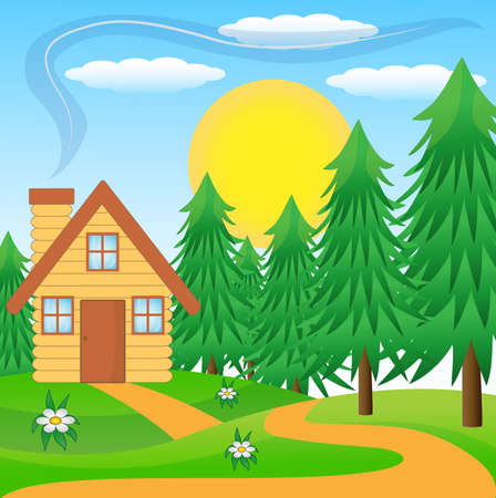 wooden house on a green lawn near the forest Vector