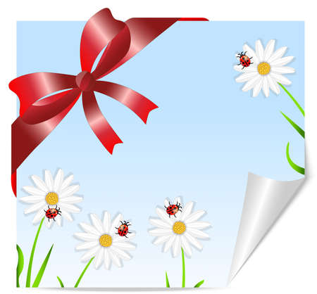 Greeting-card with the picture of flowers and red bow Vector