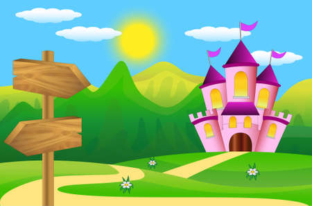 wooden pointer and fairy-tale palace to the green lawn Vector