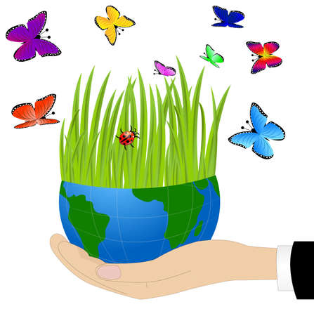 planet earth on a hand and bright butterfly,vector illustration