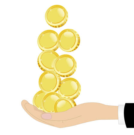 chinks: gold chinks in a hand on a white background,vector illustration