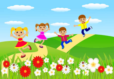 merry children hurry on a path, vector illustration