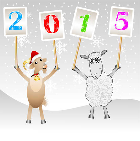 hubcap: goat and sheep with numbers 2015,vector illustration Illustration