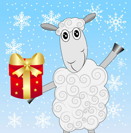 hoofs: merry sheep with a gift on a blue background with snowflakes,  vector  illustration Illustration