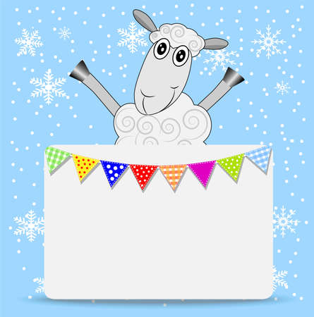 hoofs: merry sheep and greeting-card with a garland,  vector  illustration Illustration