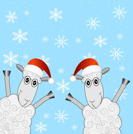 hubcap: two sheep are in christmas caps,  vector  illustration