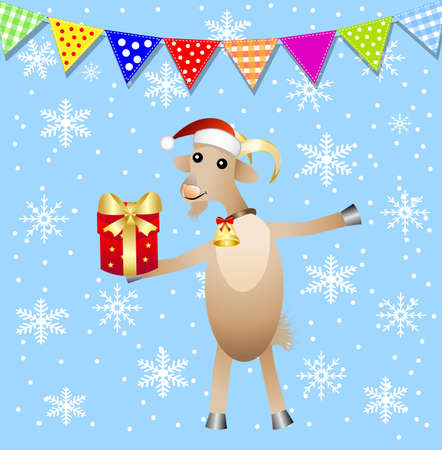 hubcap: merry goat with a gift and festive garland,  vector  illustration