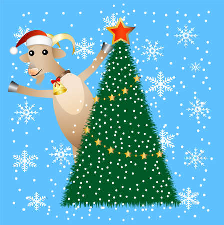 hoofs: merry goat and christmas tree,  vector  illustration Illustration