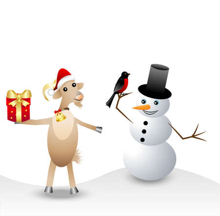 hoofs: merry goat with a gift, snow man and bullfinch,  vector  illustration