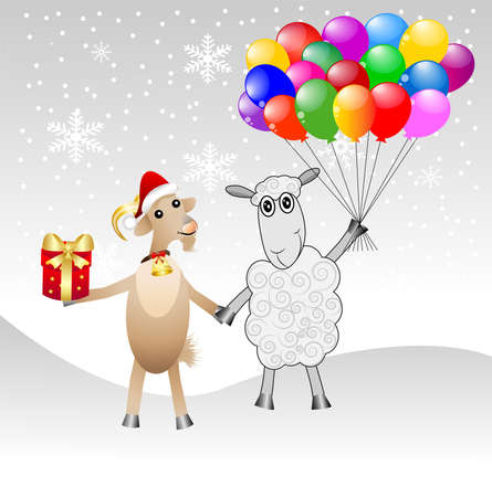 hoofs: goat and sheep with a gift and air marbles,vector illustration Illustration