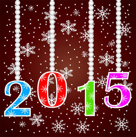 claret: numbers 2015 on a claret background with snowflakes,vector illustration