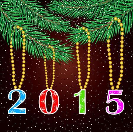claret red: n�meros de 2015 se cuelguen de las ramas del �rbol de navidad, ilustraci�n vectorial