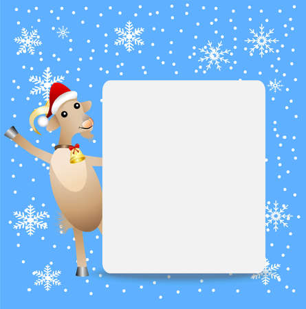 hoofs: goat in a christmas cap and clean banner,  vector  illustration Illustration